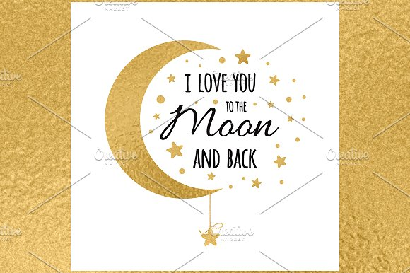 Banner With Love Quote Golden Moon