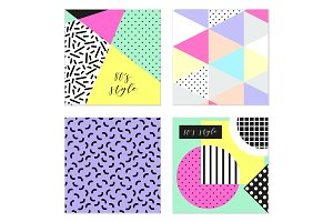 Cute set of four 80's style trendy patterns