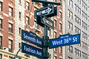 Signs of Seventh Ave and West 36th in Manhattan