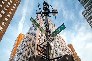Signs of Broadway and West 39st in Manhattan