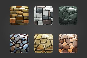 Set of shiny stone square button