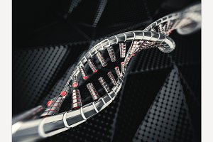 DNA strands. 3D rendering