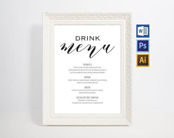 Bar Drink Menu Wpc76