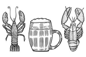 collection of beer mugs and lobster