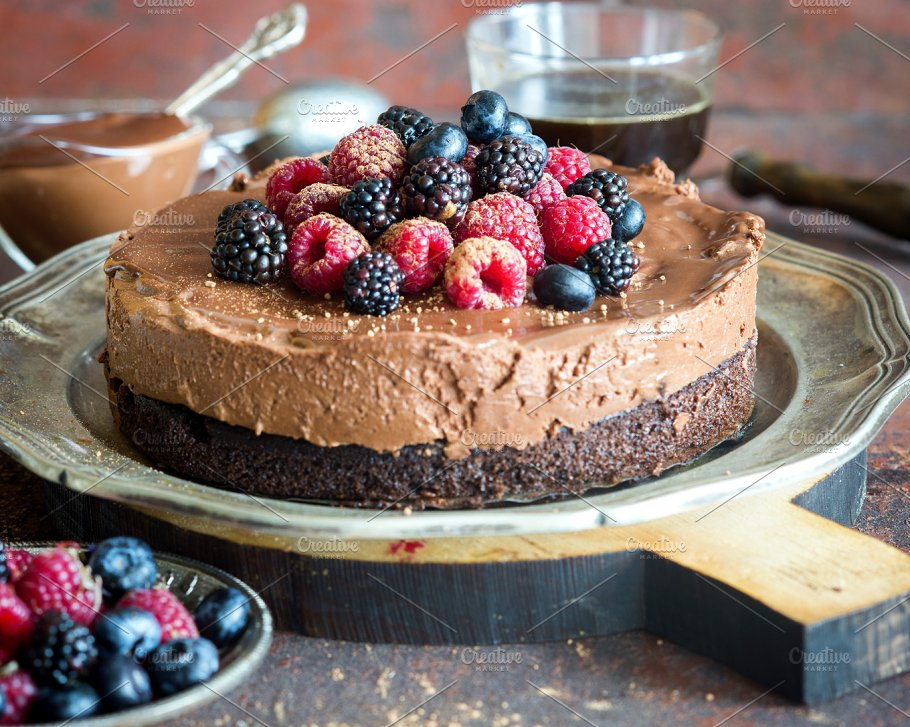 Beautiful Tasty Chocolate Truffle Mousse Cake With Fresh Berries