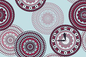 Vector Seamless Pattern with clock a