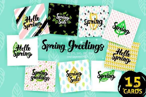 Spring Postcards in Card Templates