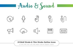 34 AudioSound Outline Stroke Icons