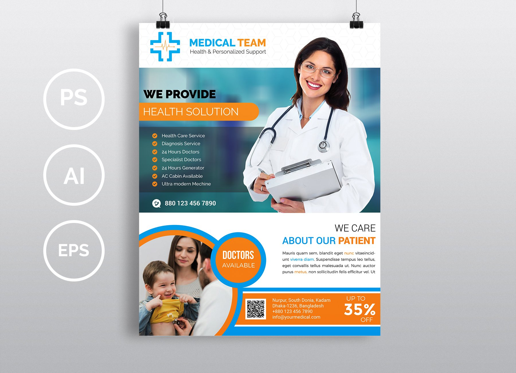 doctor medical flyer vol 08 flyer templates creative market