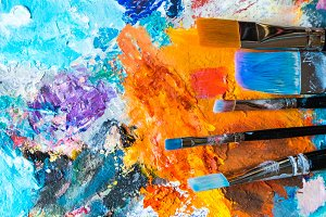 Artistic brushes on the palette