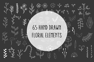 65 Hand Drawn Floral elements