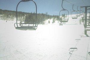 Empty Snowy ski Lift