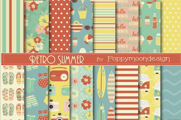 Retro Summer Papers Graphic Patterns Creative Market