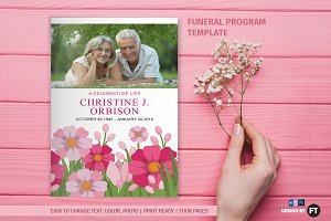 Funeral Program Template / Flower