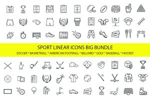 Sport linear icons. Big bundle sale!