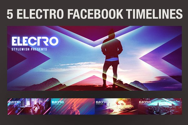 Facebook Templates: styleWish - 5 Electro Facebook Timeline Covers