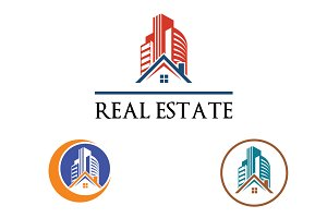 3 House Building Real Estate Logo