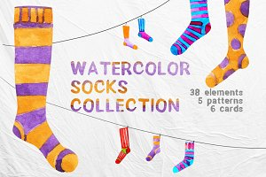 Watercolor socks set