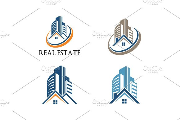 4 House Building Real Estate Logo