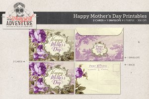 Mother's Day Card+Envelope Purple