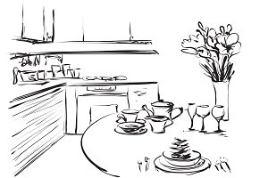 Kitchen interior. Sketching