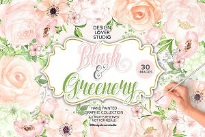 Watercolor BLUSH and GREENERY design