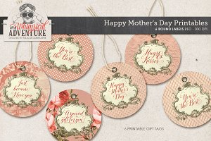 Mother's Day Round Tags Red