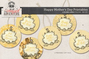 Mother's Day Round Tags Yellow