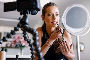 vlogger recording a make-up video