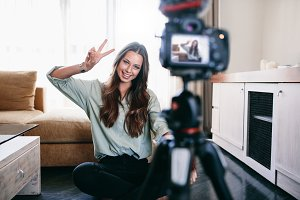 Young woman recording content