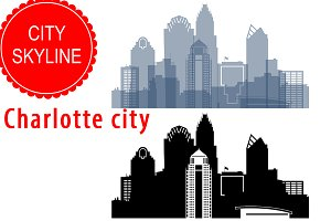 Charlotte city vector skyline