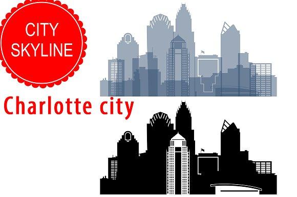 Charlotte City Vector Skyline