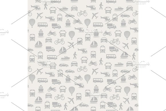 Transport Seamless Pattern Background With Icons