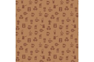 Coffee seamless pattern. Background with icons.