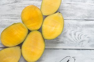 Halves of mango