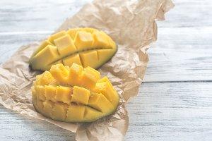 Halves of mango