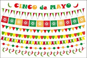 Cinco de Mayo celebration set of colored flags, garlands, bunting. Flat style, isolated on white background. Vector illustration, clip art.