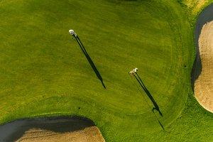 Professional golfers playing