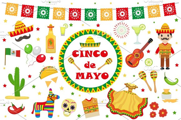 Cinco De Mayo Celebration In Mexico Icons Set Design Element Flat Style.Collection Objects For Cinco De Mayo Parade With Pinata Food Sambrero Tequila Cactus Flag Vector Illustration Clip Art