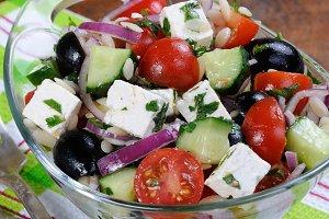 Greek Salad with Orzo