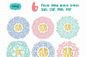 Flower wreath monogram frame svg