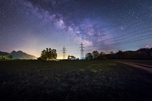 Milky way over the meadow