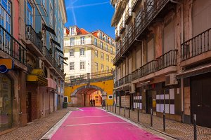 The famous Pink street in Lisbon, Portugal