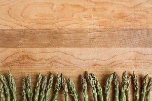 Asparagus on a Cutting Board