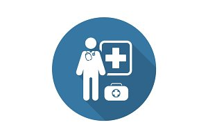 Doctor on Duty Icon. Flat Design
