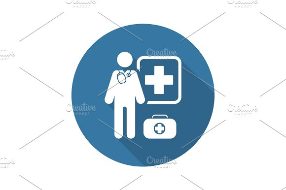 Doctor On Duty Icon Flat Design