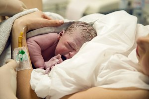 Newborn baby boy after birth