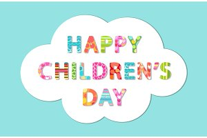 Cute Children's Day banner as colorful letters