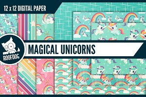 Rainbows and unicorns digital paper