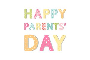Cute Parents Day banner as bright festive letters